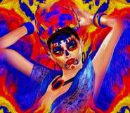 Засахарите состав черепа Ла Санты Muerte, красочной флористической мексиканской маски, дня умерших конец вверх Стоковые Изображения RF