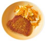 заскрежетанная тарелка котлеты морковей керамическая Стоковое Фото