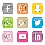 Застегивает значки социальных логотипов средств массовой информации иллюстрация вектора