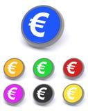 застегивает иконы евро Стоковое Фото