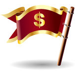 застегните икону флага доллара валюты королевской Стоковое Изображение RF
