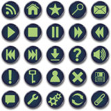 застегните комплект икон круглый Стоковое Изображение RF