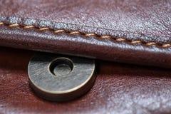Застегните коричневую кожаную сумку Стоковые Фотографии RF