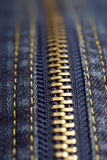 застежка -молния съемки джинсыов крупного плана Стоковые Изображения RF