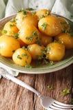 Застекленные новые картошки с концом-вверх петрушки на таблице вертикально Стоковое фото RF