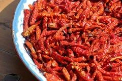 Засыхание перца красных чилей в солнце Стоковые Фото