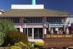 Затаите дом и старый полуостров Калифорнию США Монтерей знака причала ` s рыболова стоковое фото