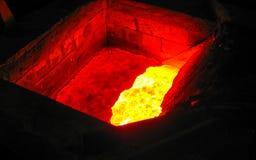 Затвердетый пламенистый металл Стоковая Фотография