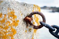 Затворы и цепь тухлые селитрой моря в зубчатой стене Стоковое Изображение