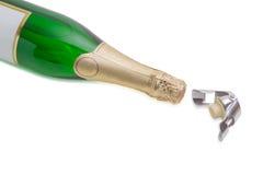 Затвор и игристое вино бутылки вина на светлой предпосылке Стоковое Изображение RF