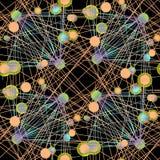 Затейливая картина кругов соединилась с линиями оранжевым светом - голубое фиолетовое светло-зеленым на черноте Стоковое Изображение