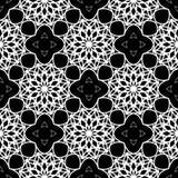 Затейливая черно-белая картина Абстрактная похожая на шнурк безшовная предпосылка Стоковая Фотография RF