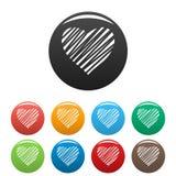 Затеняемый вектор цвета сердца установленный значками Стоковое Изображение