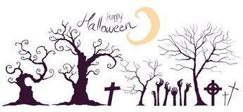 Затеняйте деревья хеллоуина и руки ` s зомби Стоковое Изображение RF