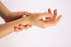затирание лосьона руки Стоковое Изображение RF