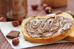 Затир гайки шоколада с хлебом Стоковое фото RF