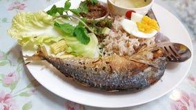 Затир Chili с зажаренной скумбрией и vegetable тайской едой, тайской едой, затиром креветки с зажаренной скумбрией и овощем, зати Стоковая Фотография