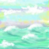 Затишье и ясность предпосылки акварели моря морск Стоковое Фото