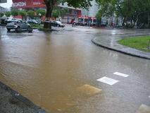 Затопил улицы города Lukavac Стоковая Фотография RF