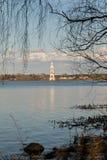 Затопленная колокольня собора St Nicholas в Kalyazin стоковая фотография rf