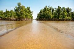 затопленная дорога сельская Стоковые Изображения RF