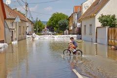 Затопленные улица и дома Стоковое Изображение RF