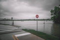Затопленные улицы во время урагана Харви стоковые фото