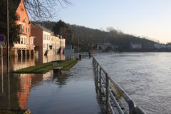 Затопляющ в Wasserbillig, Люксембург, январь 2018 Стоковое Фото