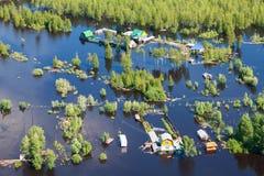 Затопленная деревня в низменности большого реки Стоковая Фотография