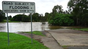 Затопленная дорога после циклона сток-видео