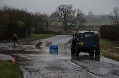 Затопленная дорога Lowick с A6116 Стоковое Изображение