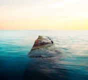 Затопленная пристань на заходе солнца Стоковая Фотография RF
