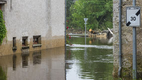 затопленная сельская местность Стоковые Изображения RF