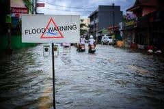 Затопленная улица после проливного дождя Стоковые Изображения RF