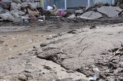 Затопленный город от Босния и Герцеговина Город Maglaj стоковая фотография rf