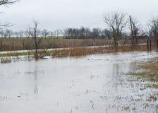 Затоплять в рвах дороги Стоковые Фото