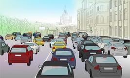 Затор движения автомобилей иллюстрация штока