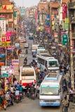 Затор движения и загрязнение воздуха в центральном Kathmandu Стоковое Фото