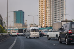 Затор движения на срочном пути в часе пик Стоковые Фото