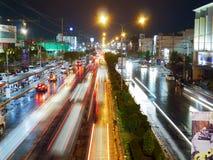 Затор движения от дождя в зиме Таиланде Стоковые Фотографии RF