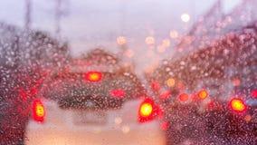 Затор движения в rainny дне Стоковое Изображение
