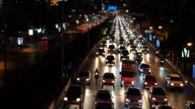 Затор движения на бульваре в выравниваясь часе пик, затор Timelapse автомобилей сток-видео