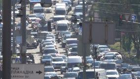 Затор движения на улице Киева сток-видео