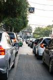 Затор движения на утре Бангкоке стоковое фото rf