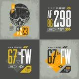 Затрапезная иллюстрация эмблемы воздушных судн футболки Стоковые Изображения