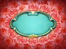 Затрапезные шикарные рамка и розы Стоковое Изображение RF