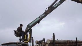 Затяжелитель механически руки разгржает деревянные журналы от тяжелого грузовика на фабрику лесопилки сток-видео