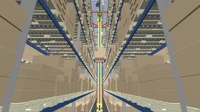 Затяжелитель робота носит коробки в складе иллюстрация вектора