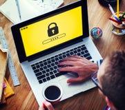 Зафиксируйте концепцию значка защищенную паролем графическую Стоковое Изображение