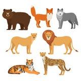 Захватнические животные установили гепарда льва тигра лисы медведя волка изолированный Стоковые Изображения RF